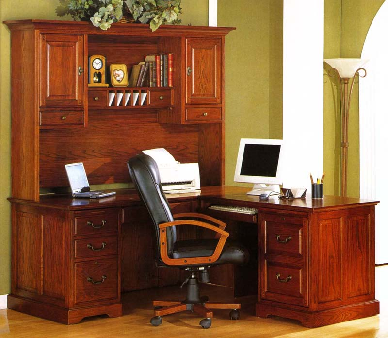 Golden Oak Savannah L Shaped Computer Desk Hutch Whalen Furniture